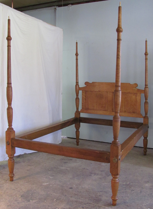 Bird's Eye Maple antique Sheraton four poster bed
